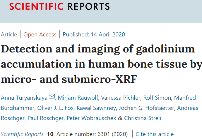 New paper: Detection and imaging of gadolinium accumulation in human bone tissue by micro- and submicro-XRF